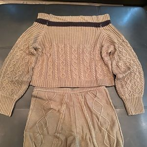 Off the shoulder sweater/ sweater knit shorts